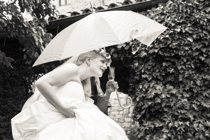 Wedding dash in the rain